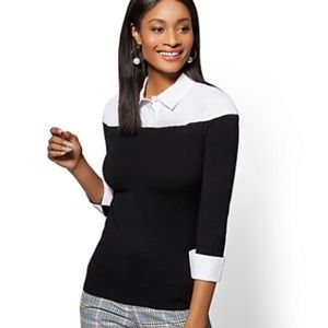 NY&CO - Black/White Collared Twofer Sweater Top